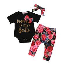 Load image into Gallery viewer, Mommy is my Bestie Romper+Rose Print Pants+Hairband Set