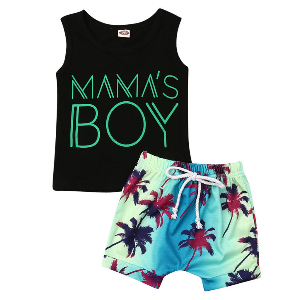 KLV toddler baby clothes set baby clothes boys Letter Vest Tops Print Shorts 2PC Outfits Sets Summer#y20