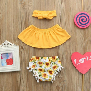 Summer Style Infant Baby Girls Outfits Clothes Tassel Romper Jumpsuit + Casual Shorts+Headband Set Children'S Things For Girls