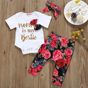 Newborn Baby Girl Clothes Infant Baby Girl Sets Letter Romper+Flower Print Pants+Hairband Baby Girl Outfits Ensemble Bebes Fille