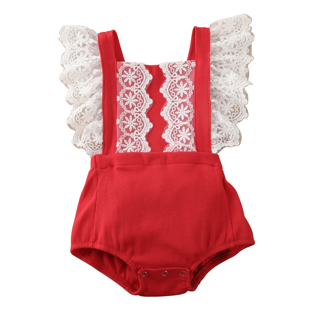Summer Newborn Baby Girl Clothes Lace Ruffle Bodysuit Jumpsuit Outfits