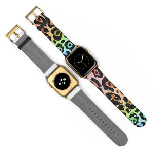 Leopard Rainbow Ombre with Metallic Rose Gold Base Watch Band