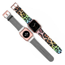 Load image into Gallery viewer, Leopard Rainbow Ombre with Metallic Rose Gold Base Watch Band