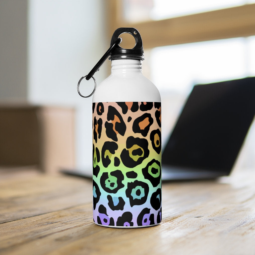 Leopard Rainbow Ombre Stainless Steel Water Bottle