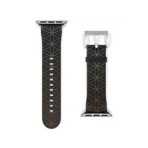Flower of Life Apple Watch Band in Gold + Black, Sacred Geometry Design, Faux Leather