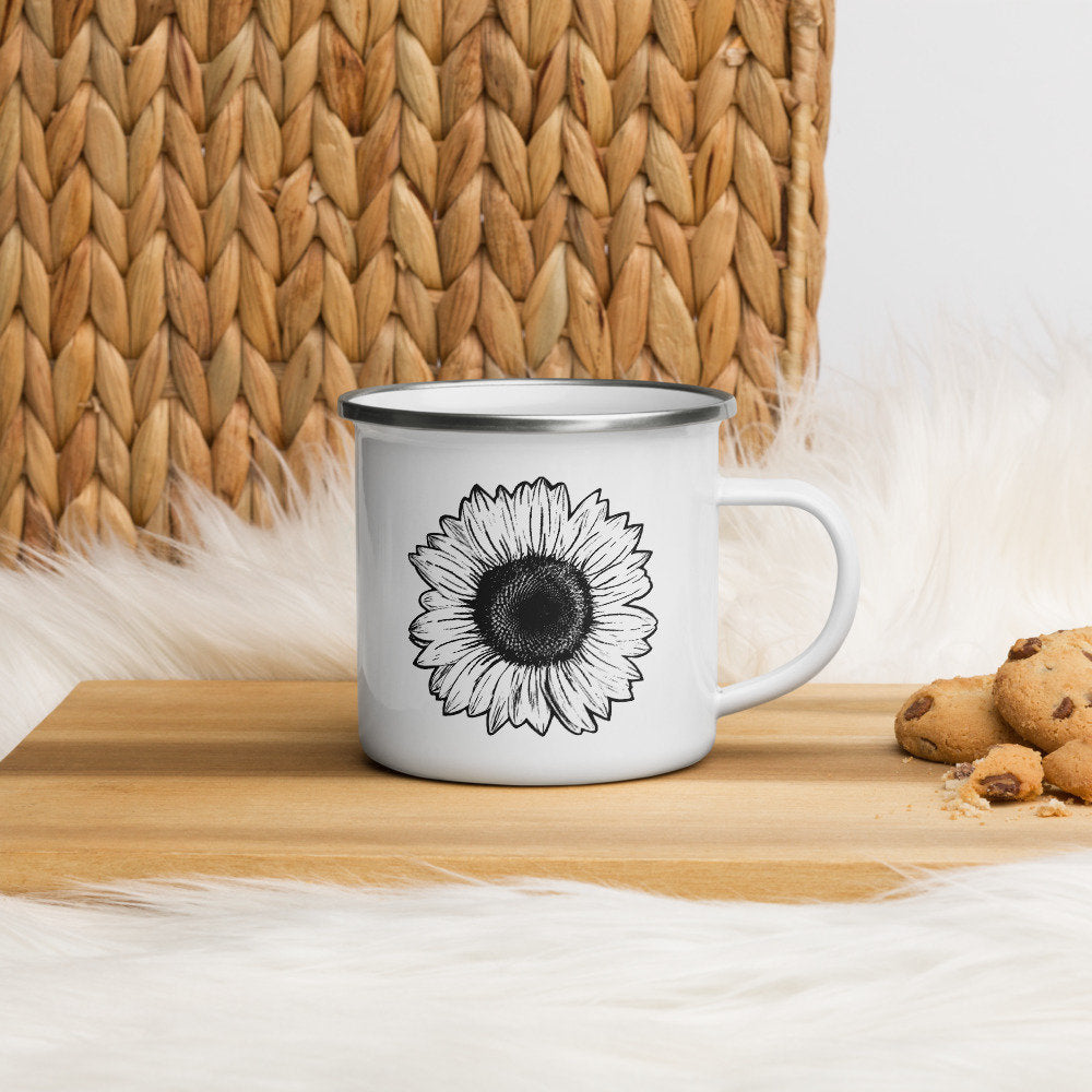 Sunflower Enamel Mug, Coffee Cup, Floral Mug