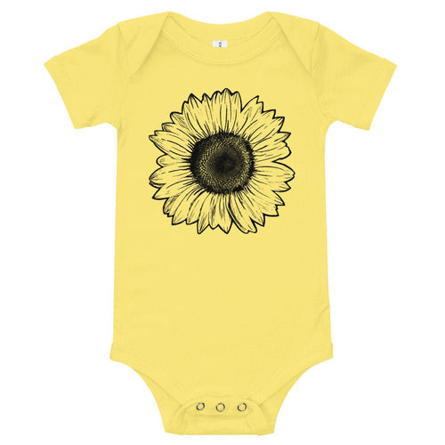 Sunflower Baby Onesie, Flower Baby Clothing, Baby Girl, Baby Boy, Custom Baby Onesie, Yellow, Baby Shower Gift, New Mom Present