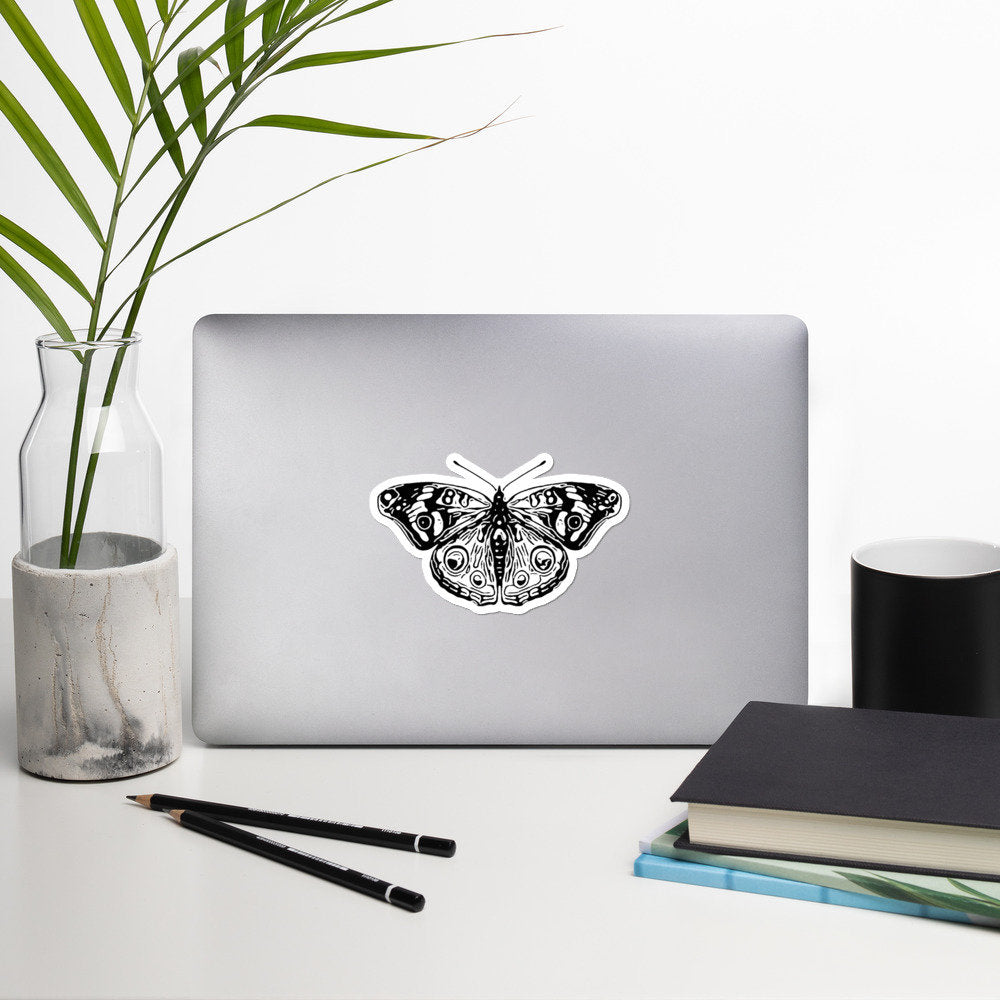 Butterfly Moth Bubble-free Stickers, Insect, Wings, Boho, Bohemian, Animal, Life, Natural, Earth Day, Stickers