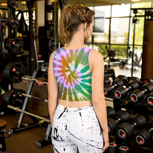 Bright Tie Dye Yoga Crop Top, Sublimation Printed, Sporty, Boho, Cute, Hippie, Colorful Crop Tank Top, Artistic, Unique, Athleisure, Active