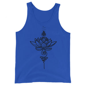 Blooming Unalome, Unisex Tank Top, Lotus, Crystal, Simple Line Drawing Aesthetic, Spiritual, Sublimation Print, Boho, Eclectic, Bohemian