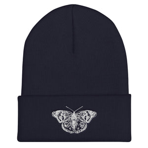 Butterfly Cuffed Beanie, Embroidered Custom Hat