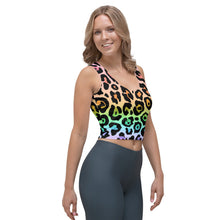 Load image into Gallery viewer, Leopard Ombré Crop Top, Boho, Bohemian, Animal Print, Teen Tank, Crop Shirt, Rainbow, Colorful, Yoga, Athleisure