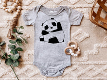 Load image into Gallery viewer, Cute Baby Panda Baby Onesie, Simple Aesthetic, Black Line Sublimation, Animal Lover, Boho, Bohemian, Baby Shower Gift, New Mom, Mother Gift