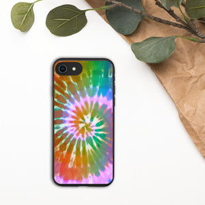 Tie-Dye Biodegradable iPhone Case, Hippie, Boho, Eco-Friendly, Colorful, Rainbow, Swirl, Bohemian, iPhone 11, 8,7,X,SE