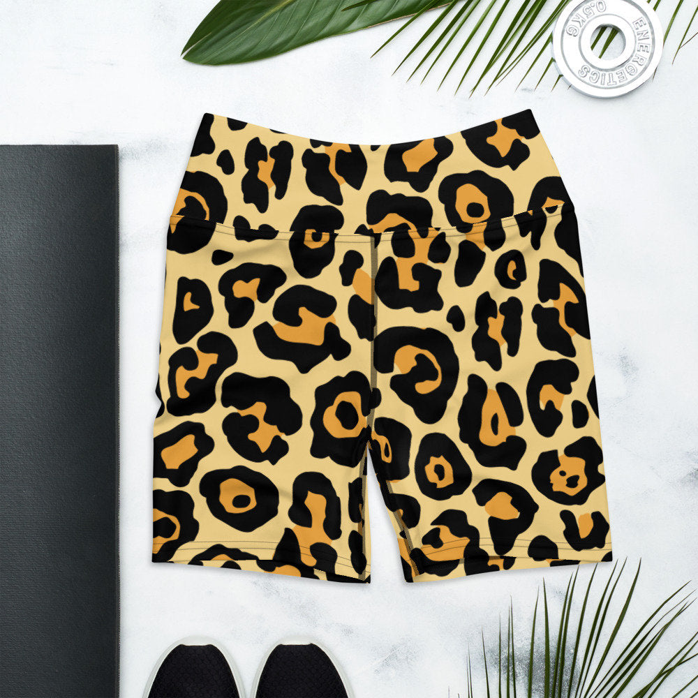 Leopard Yoga Shorts, Leopard Print, Animal Print, Shorts, Animal Lover, Everyday Comfy Shorts, Athletic, Athleisure, Shorts for Women
