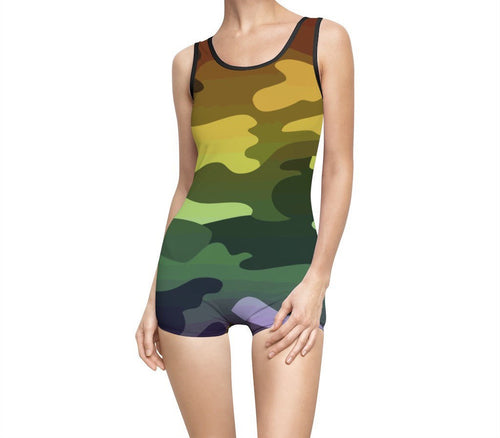 Camouflage Ombre Women's Vintage Swimsuit