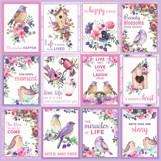 Paper Pack Birds And Berries- 6in x 6in, 24 sheets, 12 Designs, 250 gsm