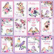 Paper Pack  Birds And Berries- 12in x 12in, 12 Sheet, 12 Designs, 250gsm