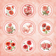 Paper Pack 12in x 12in, 250gsm, Poppies & Roses 12 Sheet
