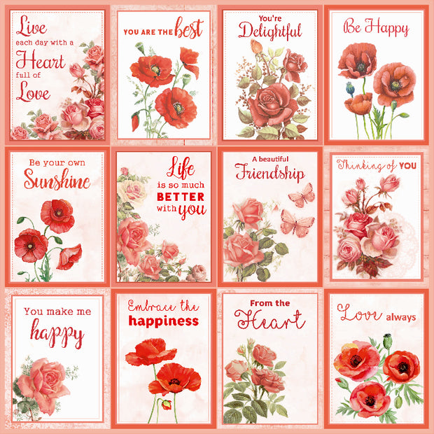 "Poppies & Roses Collection - Printed Cardstock Pack 12""x12"", 12 Sheets"