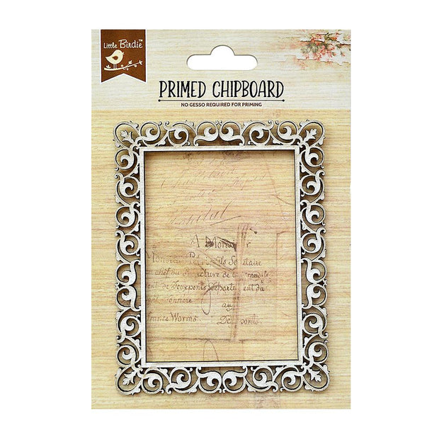 Primed Chipboard - Ornate Rectangle Frame, 1pc
