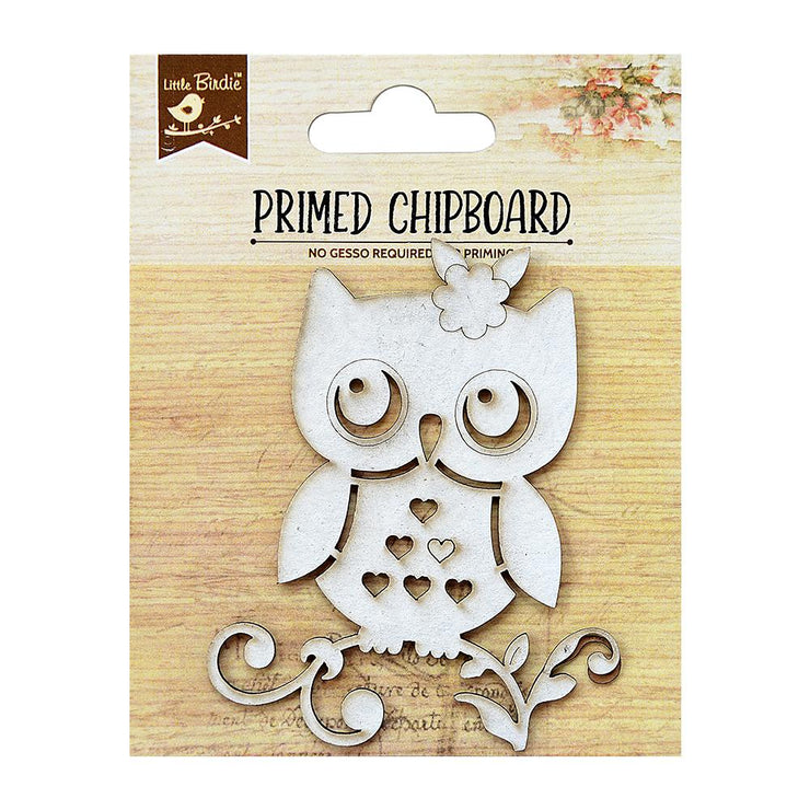 Primed Chipboard- Owl, 1pc