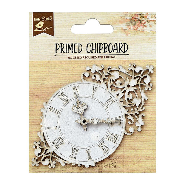 Primed Chipboard- Clock with Design, 1pc