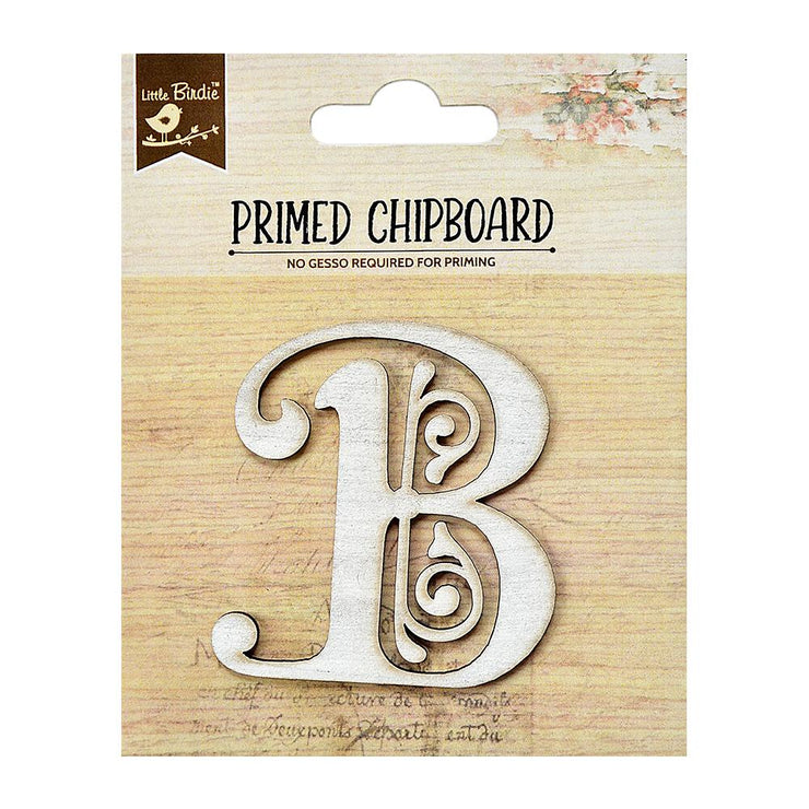 Primed Chipboard- Alphabet B, 1pc