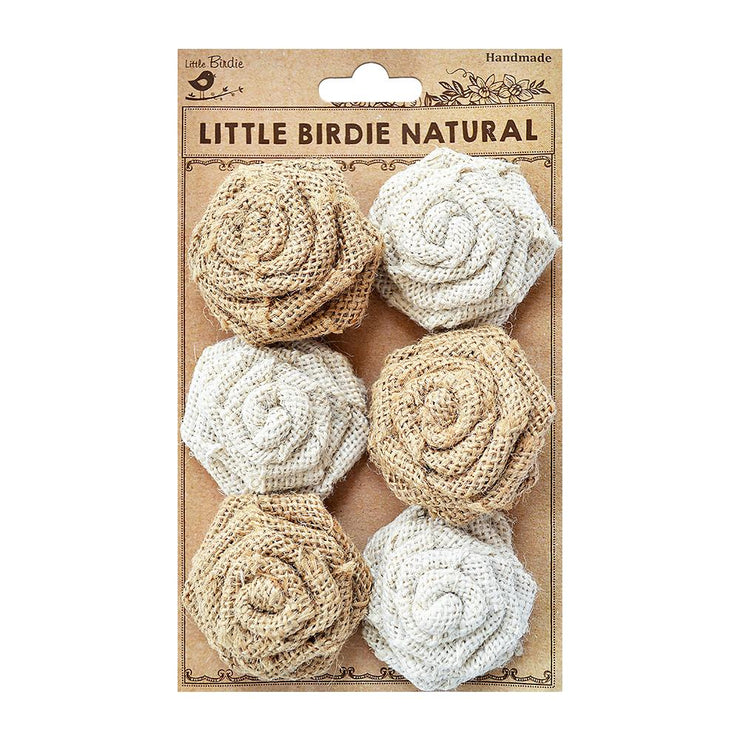 Burlap English Roses Natural & Cream, 6PC