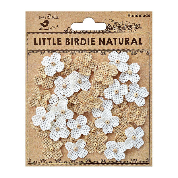 Antonia Natural & Cream floral Embellishment - 35Pc