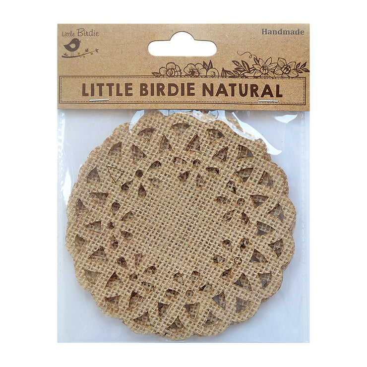 Burlap Ornate Doilies Small Round 4in X 4in Natural 4Pc