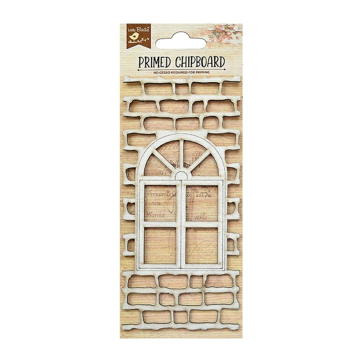 Laser Cut Primed Chipboard - Brick With Window, 1pc