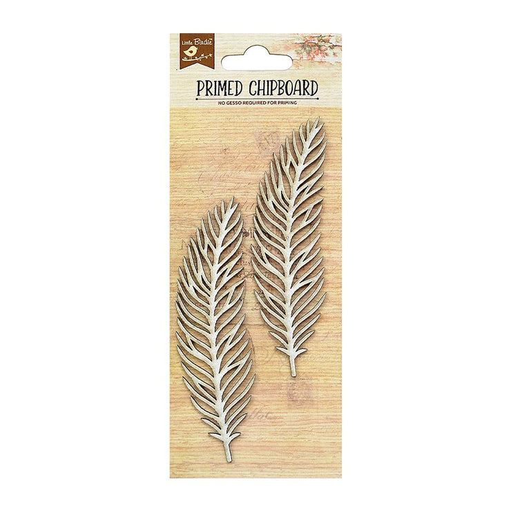 Laser Cut Primed Chipboard - Feathers, 2Pc