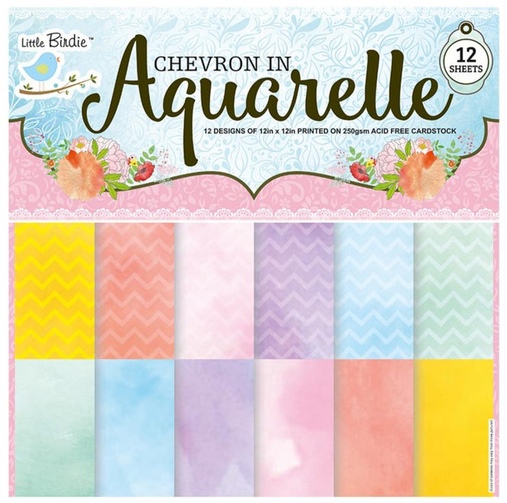 Chevron In Aquarelle - 12x12inch, 250gsm, 12designs, 12 sheets
