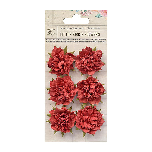 Little Birdie Handmade Flower - Camila Cherry 6Pc