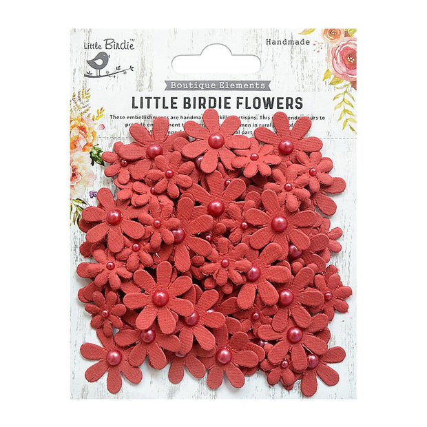 Little Birdie Handmade Flower - Pearl Florettes - Cherry Red, 80pcs