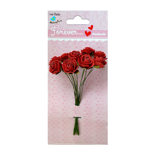 Little Birdie Handmade Flower - Helena Passion Red Forever Flowers - 15mm