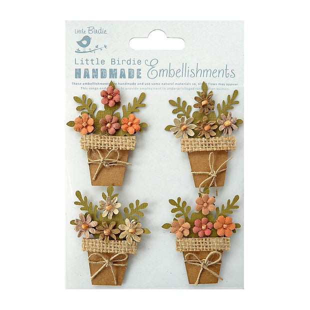 Self-adhesive Stickers - Kraft and Burlap Flower Pots, 4pcs