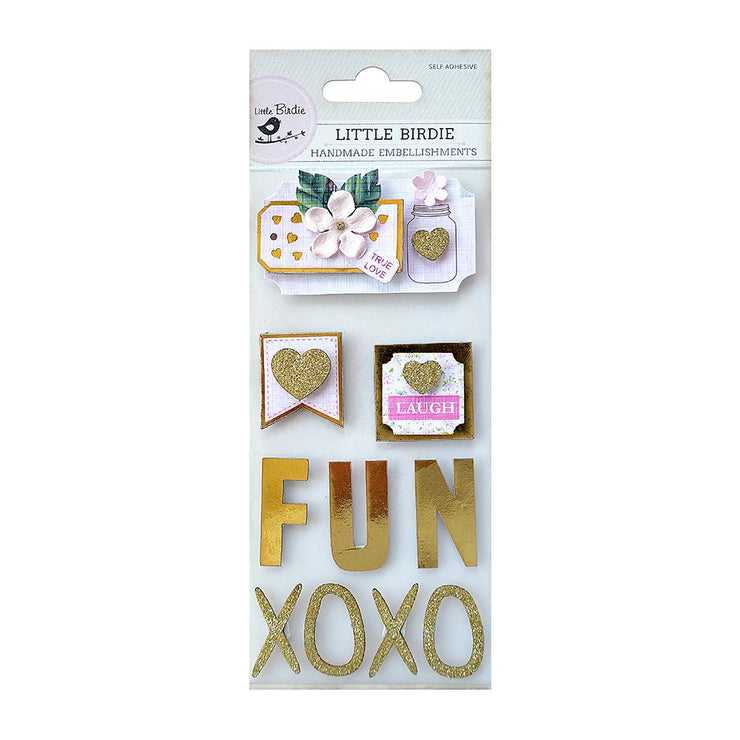 Foil Embellishments-  Foil and Glitter Fun, 10pcs