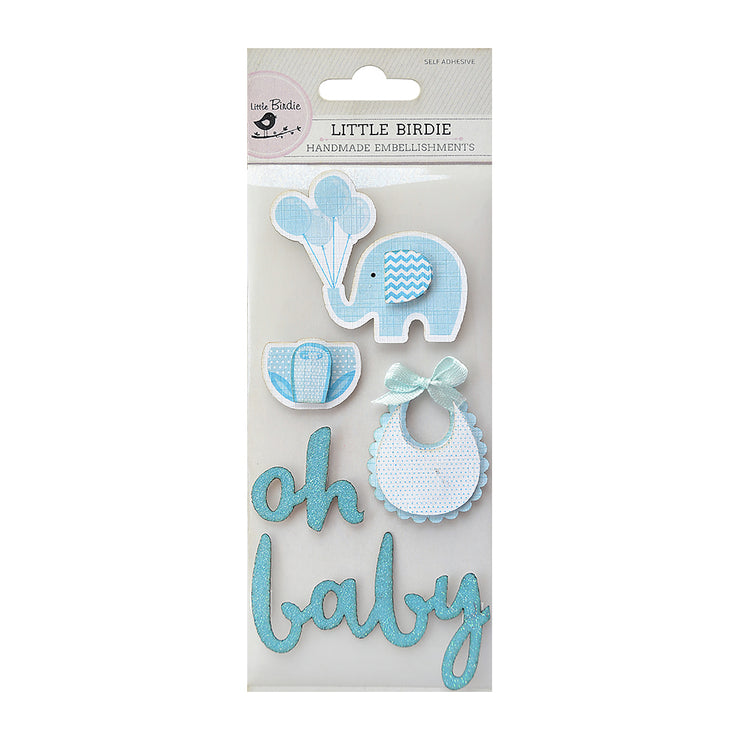 Oh Baby Embellishment - Blue, 5Pc