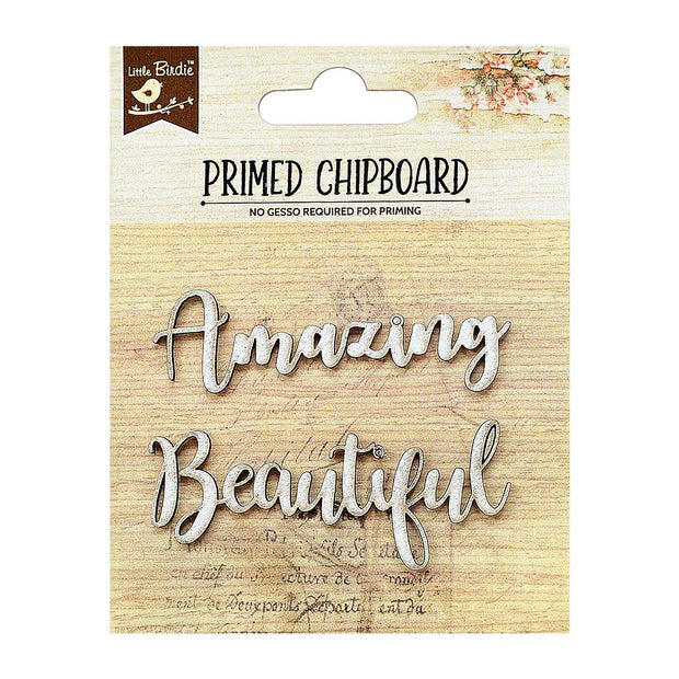 Primed Chipboard- Amazing Beautiful, 2Pc