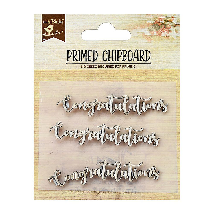 Primed Chipboard- Congratulations,3Pc