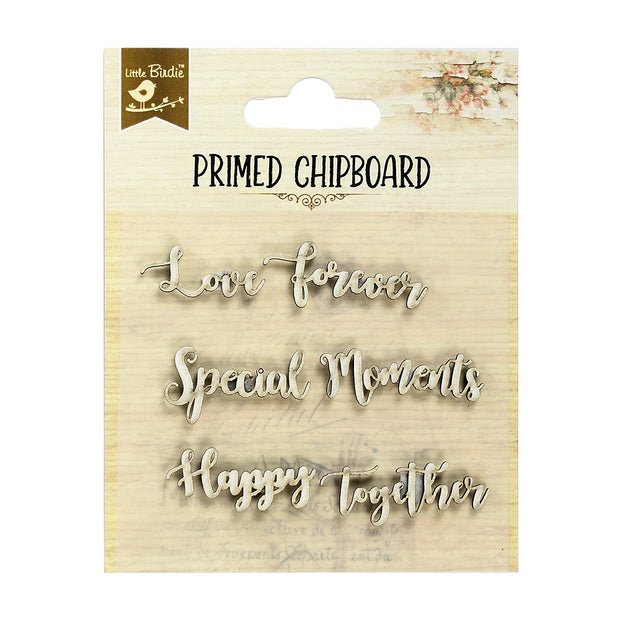Primed Chipboard- Happy Together, 6Pc