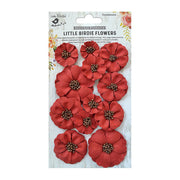 Little Birdie Handmade Flower - Meadow Red 12Pc