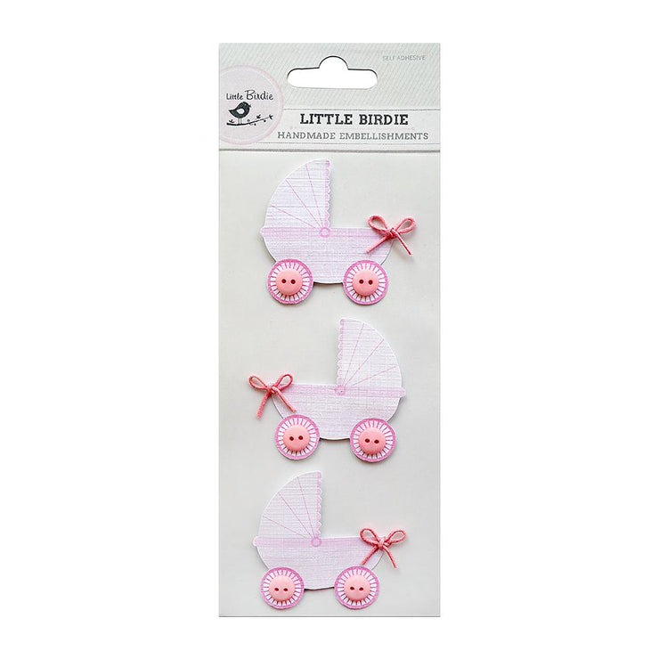 Pretty Pink Pram Embellishment - 3Pc