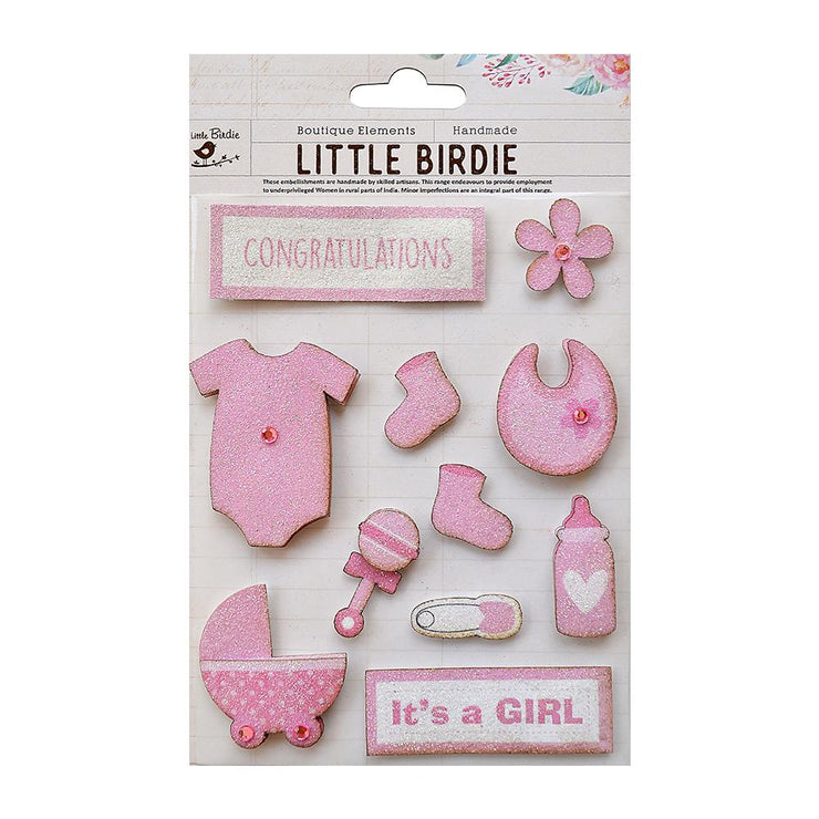 Baby Girl Embellishments Pink 11Pc