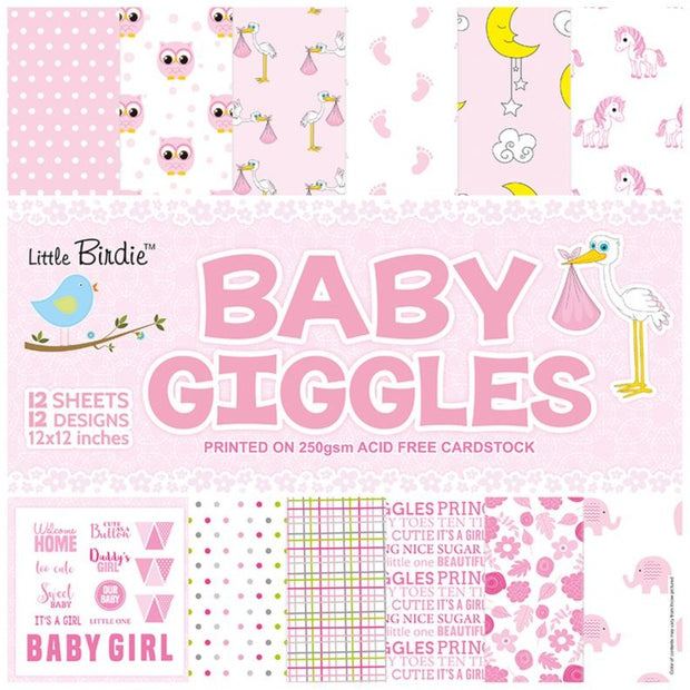 Paper Pack Baby Girl- 12in x 12in, 12sheets, 12 Designs, 250gsm