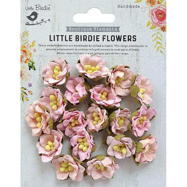 Little Birdie Handmade Flower -  Butter Cup Pearl Pink 18Pc