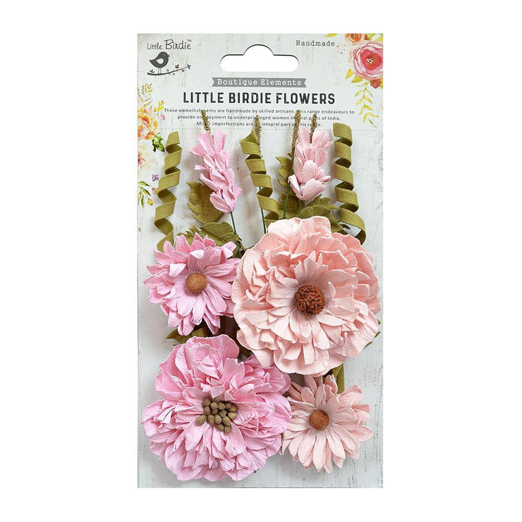 Little Birdie Handmade Flower - Elsie Pearl Pink 10Pc