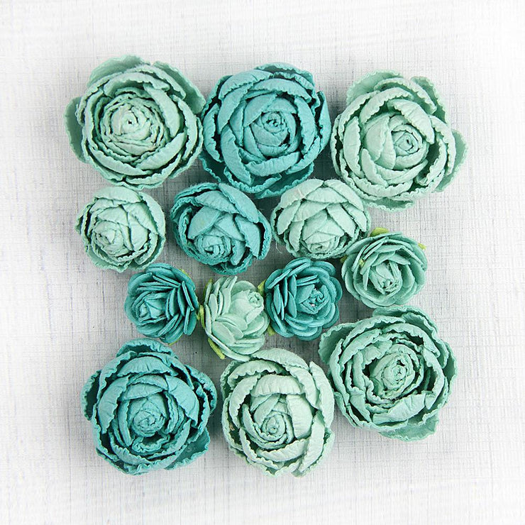 Little Birdie Handmade Flower - English Roses Arctic Ice 13Pc